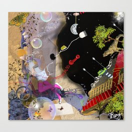 beautiful woman floating among abstract objects, raster illustration Canvas Print