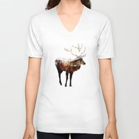 andreas preis V-neck T-shirts featuring Arctic Deer by Andreas Lie