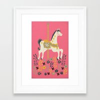 carousel Framed Art Prints featuring Carousel by Prelude Posters