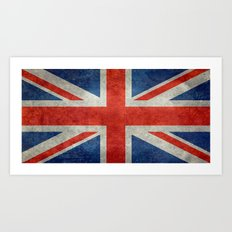British flag of the UK, retro style Art Print