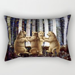 Bears Dancing In the Forest Rectangular Pillow