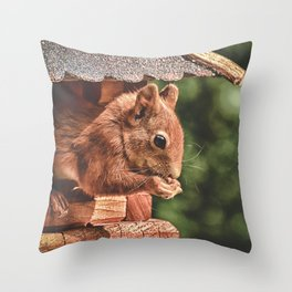 Foraging Squirrel in Little House Throw Pillow