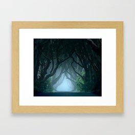 Cold foggy morning in Dark Hedges Framed Art Print