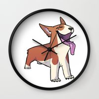 corgi Wall Clocks featuring Corgi by Suzanne Annaars