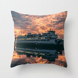 Friday Harbor Ferry Throw Pillow