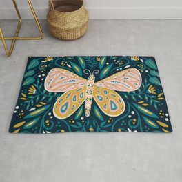 Butterfly Symmetry - Teal Palette Rug
