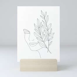Minimal Line Art Woman Face Mini Art Print