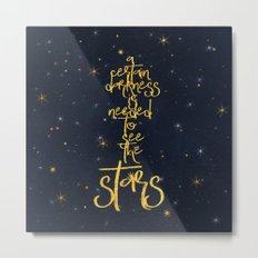 Darkness-Stars - sparkling night gold glitter typography Metal Print
