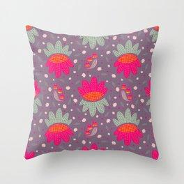 Folk Flower 1 Throw Pillow