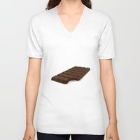 chocolate V-neck T-shirts featuring Chocolate by David Pires