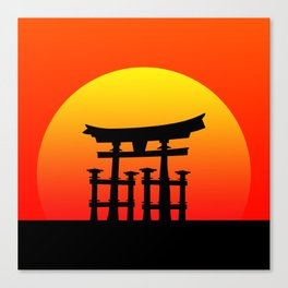 Sunset and Torii in Japan Canvas Print