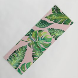 Jungle Leaves, Banana, Monstera Pink #society6 Yoga Mat