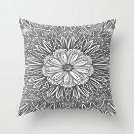 Flower Kaleidoscope Grays Throw Pillow