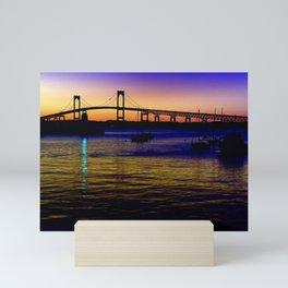 Newport Bridge - Newport, Rhode Island Purple Sunset Mini Art Print