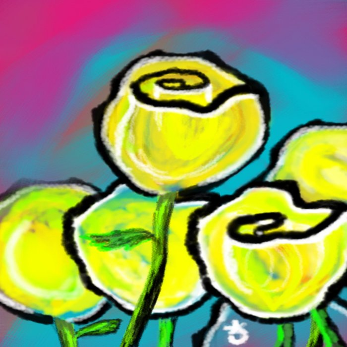 Colorful Yellow Rose Flowers with Purple Blue and Green Comforters