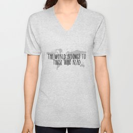 The World Belongs to those Who Read Unisex V-Neck