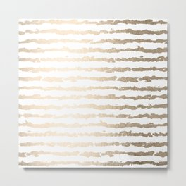 White Gold Sands Ink Stripes Metal Print