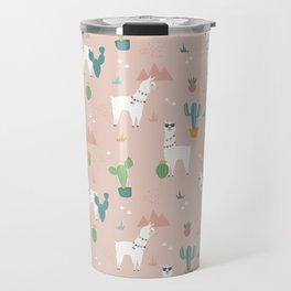 Summer Llamas on Pink Travel Mug