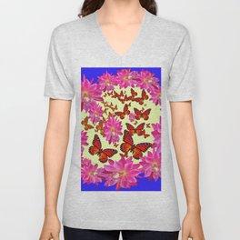 Blue & Yellow Butterflies  Pink Flowers Pattern Art Unisex V-Neck