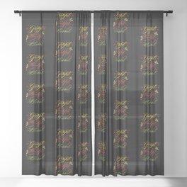 Grateful, Thankful, Blessed Design on Black Sheer Curtain