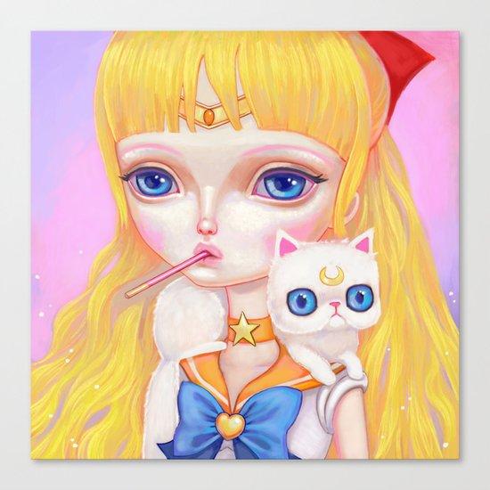 Sailor Venus Snacking On Pocky Canvas Print