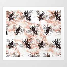 Bees on rose gold marble Art Print