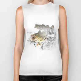 Largemouth Black Bass Fishing Art Biker Tank