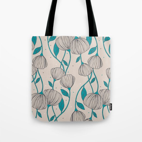 Blue Stem Flowers Tote Bag
