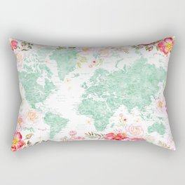 Mint green and hot pink watercolor world map with cities Rectangular Pillow