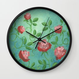 Crimson Roses Wall Clock