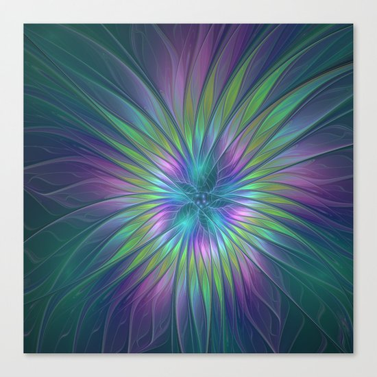 Colorful and luminous Fantasy Flower, Abstract Fractal Art Canvas Print