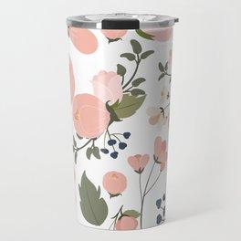 Pink Flower Pattern Travel Mug
