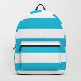 Caribbean blue - solid color - white stripes pattern Backpack