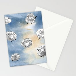 Digital Sheep in a Watercolor Sky Stationery Cards