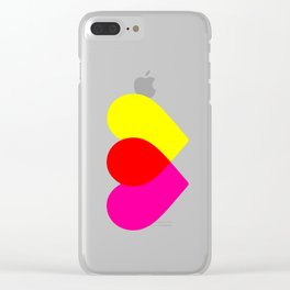 Love hearts (pink & yellow) Clear iPhone Case