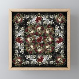 Skulls and Roses Bandana on Black Framed Mini Art Print