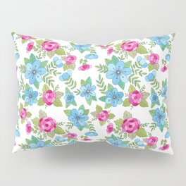 Blue Lilly Watercolor Pillow Sham