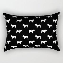 English Bulldog pattern black and white minimal modern dog art bulldogs silhouette Rectangular Pillow