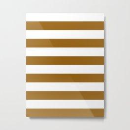 Horizontal Stripes - White and Golden Brown Metal Print