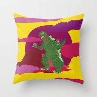 godzilla Throw Pillows featuring GODZILLA by Mariery Young
