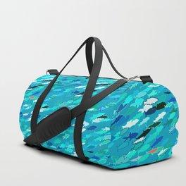 School of Fish, Shades of Turquoise and Aqua Duffle Bag