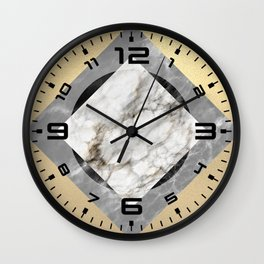Gold foil white black marble #5 Wall Clock