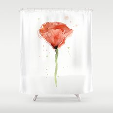 Poppy Watercolor Abstract Red Flower Shower Curtain