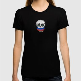 Baby Owl with Glasses and Russian Flag T-shirt