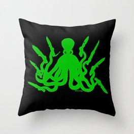 Octopus 8 Knives (toxic green) Throw Pillow