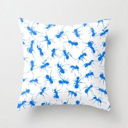 Blue Ants Throw Pillow