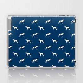 Greyhound blue and white minimal dog silhouette dog breed pattern Laptop & iPad Skin