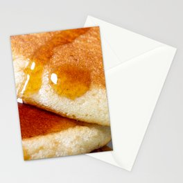 Detail of homemade pancakes wet with maple syrup Stationery Cards