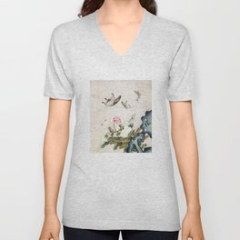 Butterflies and flowers : Minhwa-Korean traditional/folk art Unisex V-Neck