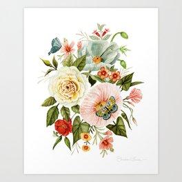 Wildflowers and Butterflies Bouquet  Art Print